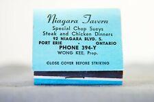 Niagara Tavern Chinese Restaurant, Wong Kee Special Chop Suey, 1950's Matches