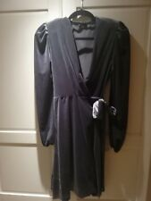 Grey velvet wrap Party Dress, 12, flared, puff sleeve, very pretty