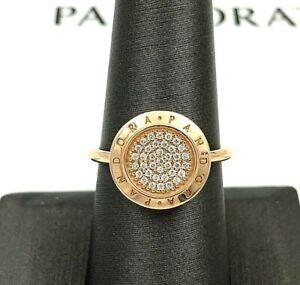 Genuine Pandora Rose™ Logo Pavé Ring 180912CZ w/Gift Set Shown-Choose Size