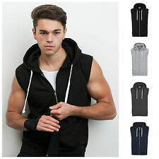 Mens Sleeveless Hoodie Gym Top Sweat Shirt Fleece Hood Fitness Exercise S – 2XL