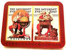 Norman Rockwell PLAYING CARDS, SANTA, 2 Decks - CHRISTMAS TIN, Sat Evening Post