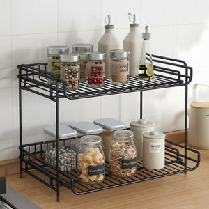 2 Tiers Dish Drying Rack Kitchen Spice Storage Drain Rack Plated Holder Basket