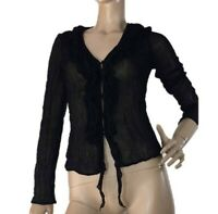 EVENTS AUSTRALIA SIZE 10 BLACK SEMI SHEER CRINKLE STYLE RUFFLE BLOUSE