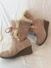 Pineapple Beige Mid Calf Suede Boots Size 6Uk