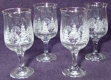 Arby's Christmas Winter White Scene Stemmed Water Goblets Gold Rim, set of 4