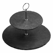 Cake Stand,Slate/Chrome Finish Handle,2 Tier/Round - BLPH2517