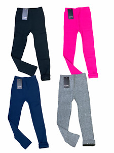 Girls Kids Knitted Thermal Leggings Stretch Stretchy Pants School Warm