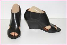 ZARA Leather Court Shoes Tulle netting Black Double leather Wedge Heels T 39