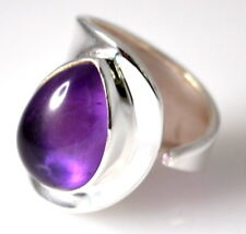 Sterling SILVER Purple Amethyst Ring Adjustable Size Real Gemstone 925 Jewellery