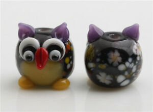 10pcs handmade Lampwork glass round Beads flower 16mm---purple owl