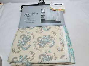 New Alcove Morrocan Patch Fabric Shower Curtain Blue, Taupe, Tan Paisley Flower