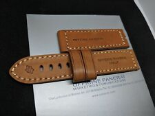NEW 24MM UNIQUE BROWN GENUINE LEATHER PANERAI STRAP BAND FOR Tang Buckle 24x24mm