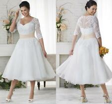 Tea Length Lace Half Sleeve Plus Size Wedding Dresses Champagne Sash Bridal Gown