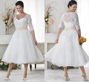 Tea Length Lace Half Sleeve Plus Size Wedding Dresses Champagne Sash Bridal Gown