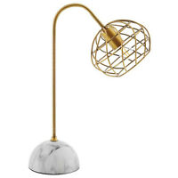 Modern Brass And Faux White Marble Table Lamp Hemisphere Shaped Wire
