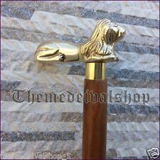 Lion Head Handle Wooden Walking Cane Stick Solid Brass Vintage Designer For Men