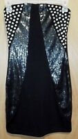 Wet Seal Ladies Junior Black Studded Sequence Stretchy Strapless Dress Size XS