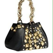 nwt versace for h&m black with gold studs mini clutch hand chain wristlet