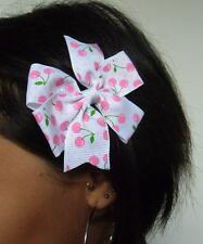 Pince clip cheveux noeud blanc cerises roses pois rétro pinup rockabilly