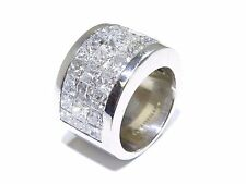 Mens 14k White Gold Princess Cut 14.75ct Beautiful White Diamond Band Ring