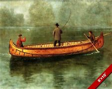 THREE MEN LAKE FISHING IN A CANOE 1800'S OIL PAINTING ART PRINT ON REAL CANVAS