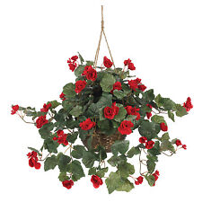 NEW BEGONIA SILK HANGING BASKET FAUX ARTIFICIAL RED FLOWERS NEARLY NATURAL PLANT