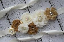 Flower Sash, Gold ivory sash , flower Belt, maternity sash