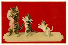Germany -MOTHER CAT W/ KITTEN-Embossed Postcard Red #176/Fantasy/Humanized