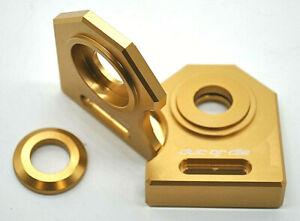 NEU Ducati Monster 600 750 900 Kettenspanner Achsplatte Schwinge Schutz gold