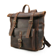 "Retro Men Real Leather 17"" laptop Big Backpack School bag Travel Casual Tote Bag"