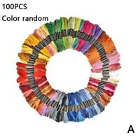 100pc Rainbow Color Embroidery Cross Stitch Threads Floss Bracelets Favor C W8X4
