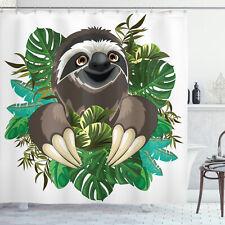 Sloth Shower Curtain Cartoon Mammal Jungle Print for Bathroom