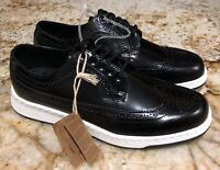 DR MARTENS Gabe Polished Black Smooth Leather Brogue Shoes NEW Mens Sz 8 10