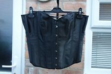 ladies black satin lace-up overbust corset size 2XL VGC
