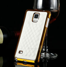 Fashion Design Durable Deluxe Leather Chrome Hard Case Cover For Samsung Models