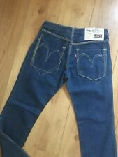 """Levis Strauss Womans W30"""" L32"""" Mid Blue Wash Graphic Slim Straight """"01"""" Jeans"""