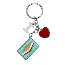 Smores Roast Marshmallow Campfire Camping Teal I Heart Love Keychain Key Ring