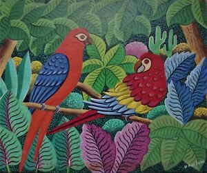 Vintage Haitian Folk Art Naif BIJOUX Painting D. DUCLAIR Haiti forest birds 8x10