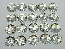 100 Clear Acrylic Flatback Rhinestone Faceted Round Gems 14mm No Hole