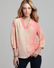 Diane von Furstenberg Neon Spray New Cahil Printed Silk L/S Top $265 NWT 2