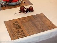 * Holzdekor Tischset Dekor Holz Antik, abwaschbar rutschfest Platzset PVC  #11
