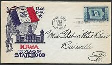 Mr B's US 1946 -100th Anniversary of Iowa Statehood - First Day Issue