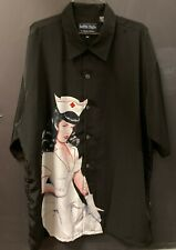 Nurse BETTIE PAGE Pin Up Dragonfly Clothing Button Up Mens Shirt 2XL XXL