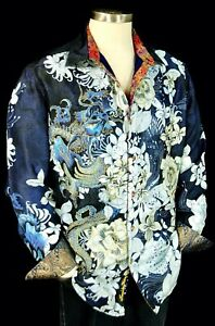 Extra Large Silk Suma Floral Button Down Long Sleeve Shirt with Breast Pocket Sleek Vintage Fashion Style Mens Medium or Womens Large