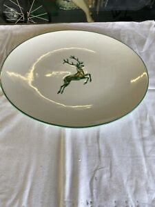 Gmundner Keramik grüner Hirsch Platte Oval