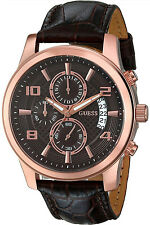 GUESS W0076G4,Men's Chronograph,Rose Gold Tone,Brown Leather Strap,50m WR