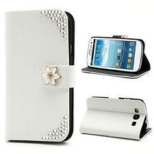 Tasche Schutz Hülle Flip Cover f Samsung Galaxy S3 NEO i9300 BLUME WEIß STRASS C