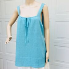 Eileen Fisher L Large Turquoise Linen Knit Tank Top Sleeveless Sweater Tunic NEW