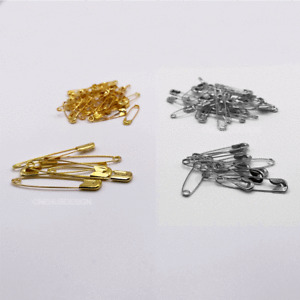 200 Safety pins (27mm to 45mm) - 100 Assorted Gold and 100 Assorted Silver New
