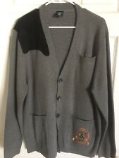Crooks and Castles Grey Cardigan Sweater Size Large